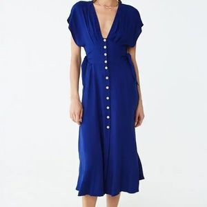 FOREVER 21 CONTEMPORARY BLUE BUTTON DOWN MAXI